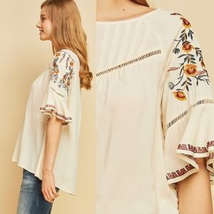 Bellanblue Tops - ELLIE Embroidered Top - NATURAL